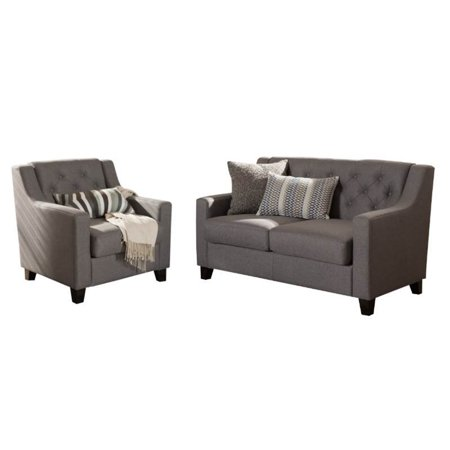 2 Piece Upholstered Sofa Set with Loveseat and Accent Chair in Gray ()