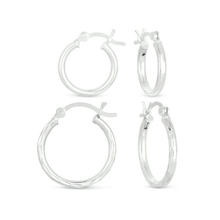 - Sterling Silver Hoop Earrings Set
