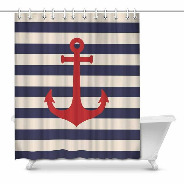 Mkhert Navy Blue Striped Marine Background With Nautical Anchor Home Decor Waterproof Polyester Fabric Shower Curtain Bathroom Sets 66x72 Inch Walmart Com Walmart Com