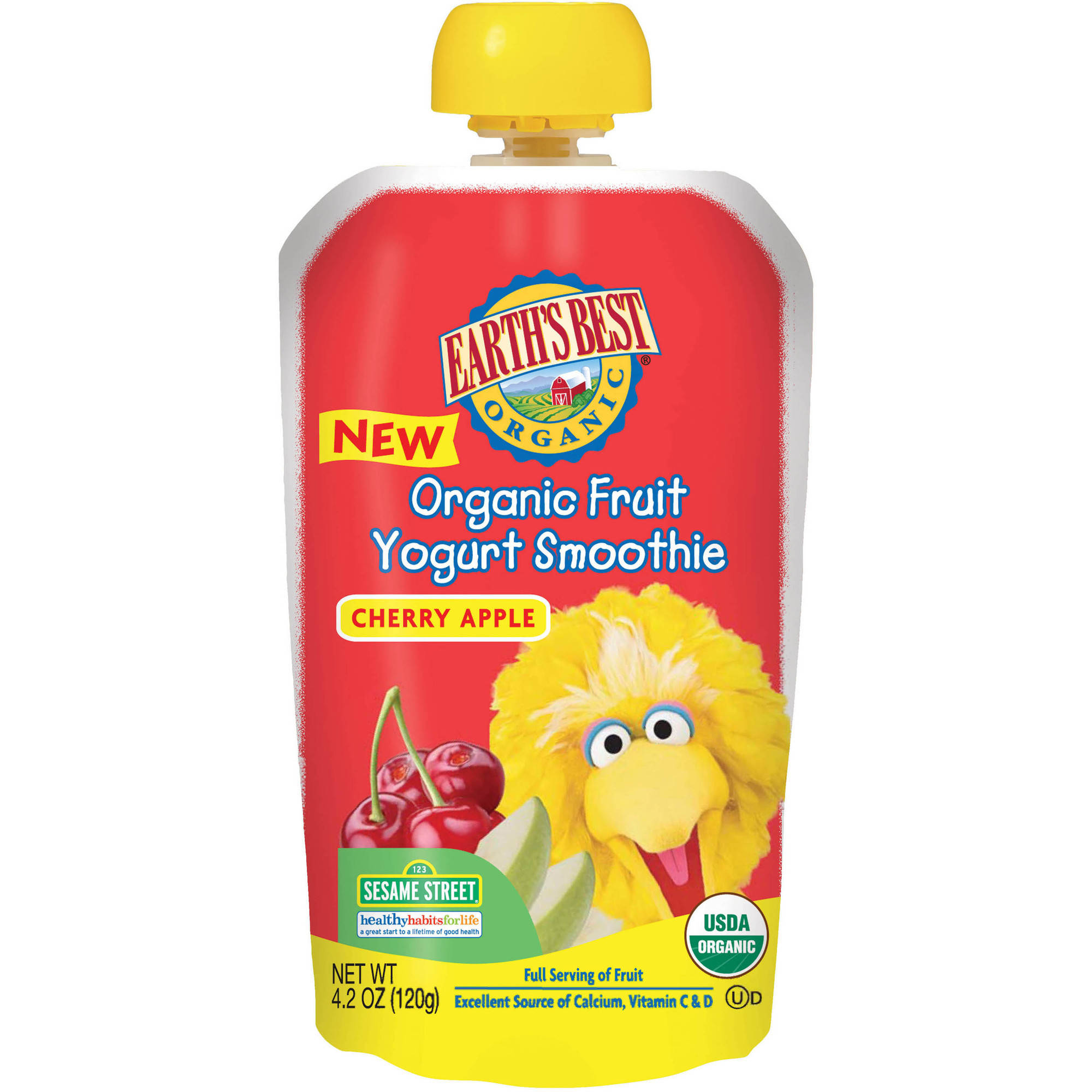 Earth's Best Organic Sesame Street Cherry Apple Fruit Yogurt Smoothie, 4.2 oz, (Pack of 6)