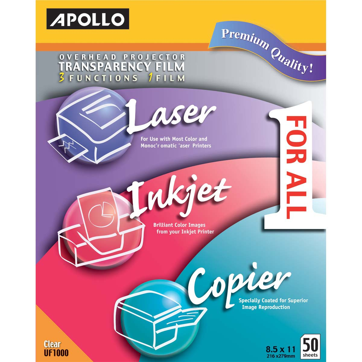 Apollo Color Laser/Inkjet Transparency Film, Letter, Clear, 50/Box