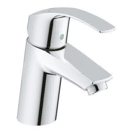 Grohe 3264300A Eurosmart 1.2 GPM Smooth Body Single Hole Bathroom Faucet with SilkMove Technology - Less Drain Assembly