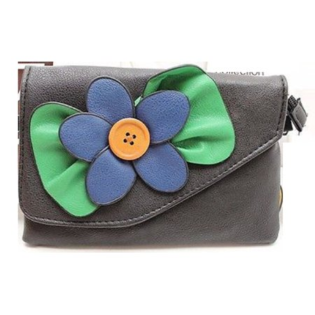 SAX Flower Black Clutch Wallet Crossbody Bag Purse Clutch with Removable Strap - Flower Pattern Removable Strap