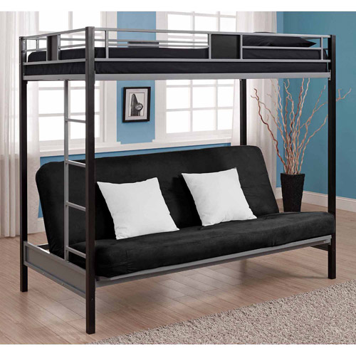 DHP Silver Screen Twin Over Futon Metal Bunk Bed, Silver/Black