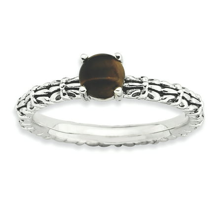 Sterling Silver Stackable Expressions Tigers Eye Antiqued Ring Size 8 - image 2 de 3