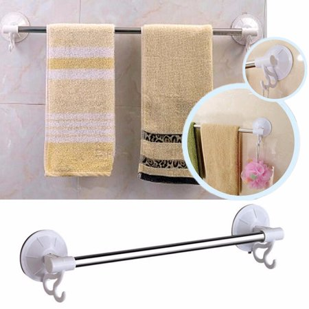 stainless steel suction cup wall mounted bathroom double towel rail holder with hook storage. Black Bedroom Furniture Sets. Home Design Ideas