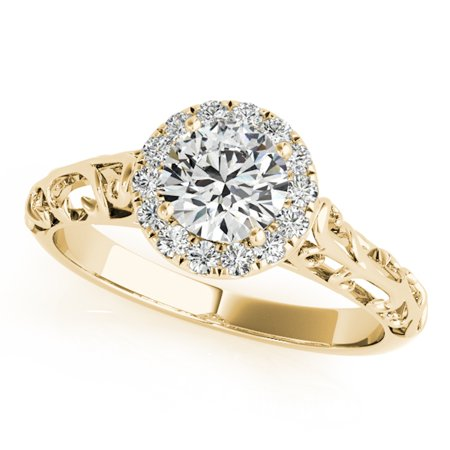 1/2 Carat Halo Round Diamond Engagement Ring In 14k Yellow Gold ()