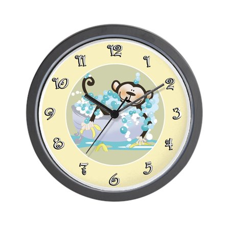 "CafePress - Brown Monkey In Tub Kids Bathroom - Unique Decorative 10"" Wall Clock"