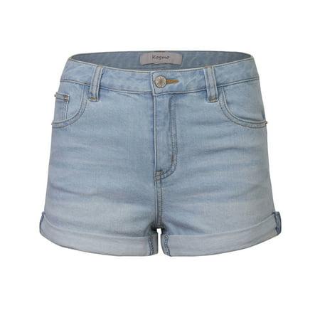 KOGMO Womens Classic Light Washed Denim Shorts Double Folded Hem Classic Microfiber Shorts