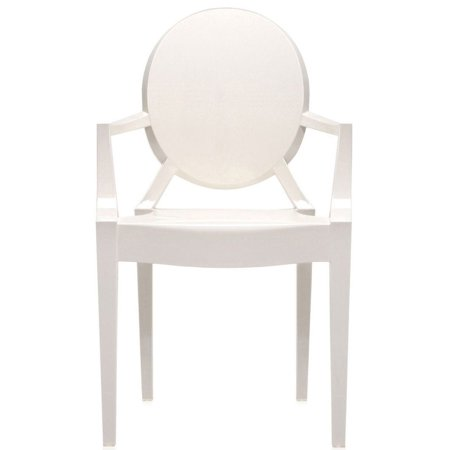 2xhome White Modern Contemporary Ghost Chairs Chair With Arms Molded  Acrylic Plastic Mirrored Furniture Dining Retro For Writing Desk Dining  Living
