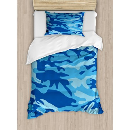 Camouflage Twin Size Duvet Cover Set, Abstract Camo Navy Military Costume Concealment from the Enemy Hiding, Decorative 2 Piece Bedding Set with 1 Pillow Sham, Pale Blue Navy Blue, by Ambesonne - Twin Costumes