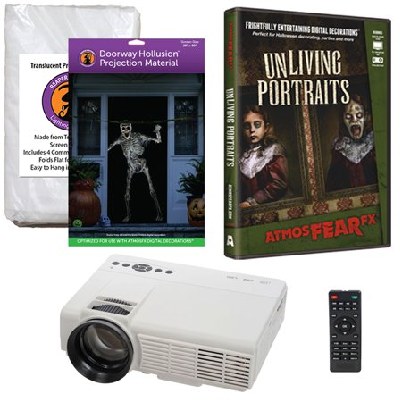 Halloween Projector Kit for Windows, Doors & Walls with Unliving Portraits AtmosFEARFx DVD + 2 Screens (R/D) + - Atmosfearfx Unliving Portraits