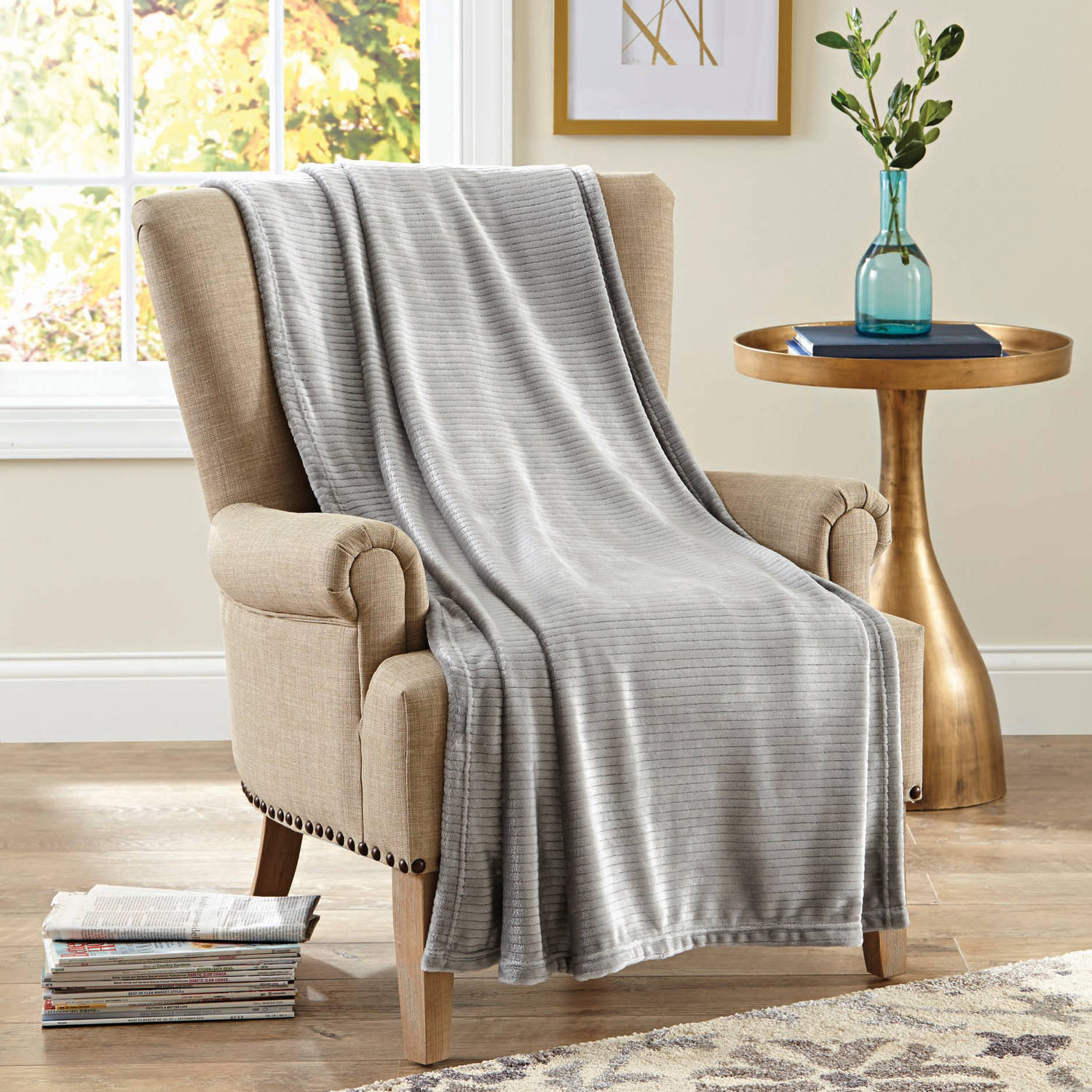 "Better Homes and Gardens Velvet Plush 50"" x 70"" Throw, Lt School Grey Ribbed Texture"