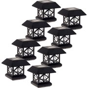 GreenLighting Brushed Copper Garden Summit Solar Powered Post Cap Light 8 Pack