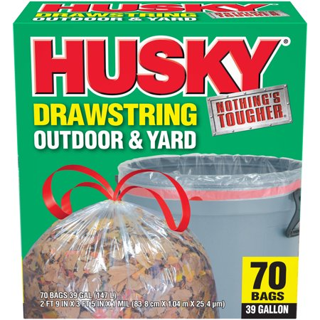 Husky 39 Gal Drawstring 70 Ct Clear Yard Bag