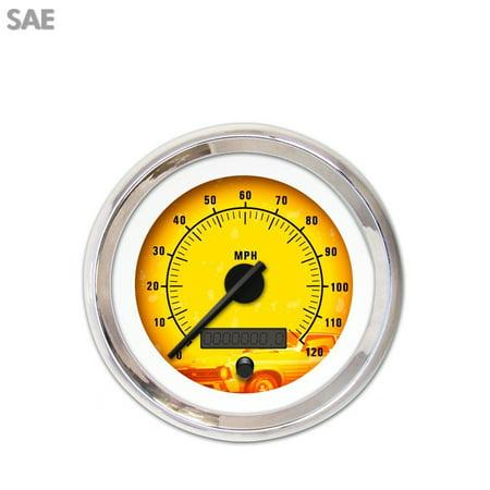 Speedometer Gauge   Sae Puma 5 Series  Black Modern Needles  Chrome Trim 351 Bbc