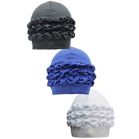 Ruffle Front Cap - Ruffled 3-Pack Bath Caps Black Blue White