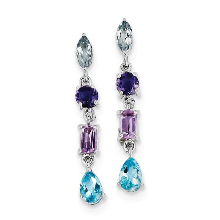 Sterling Silver Amethyst Blue Topaz and Iolite Dangle Earrings 31x5 mm (Dangling Iolite Earrings)