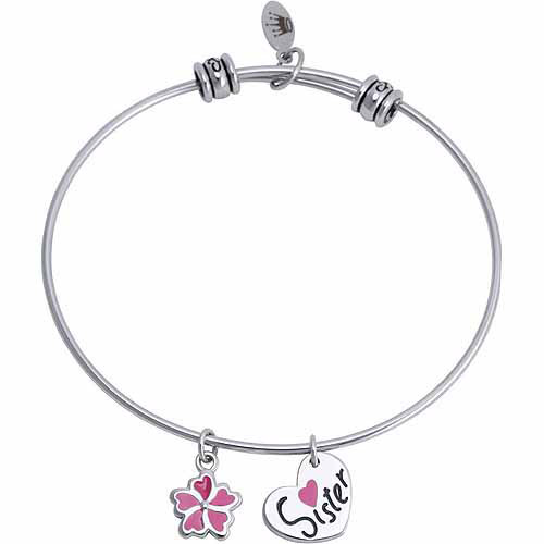 """Connections from Hallmark Stainless Steel """"Sister"""" and Flower Multi-Charm Bangle"""