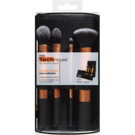 Real Techniques Flawless Core Collection Makeup Brush Set With 2 In 1 Case   Stand  4 Count