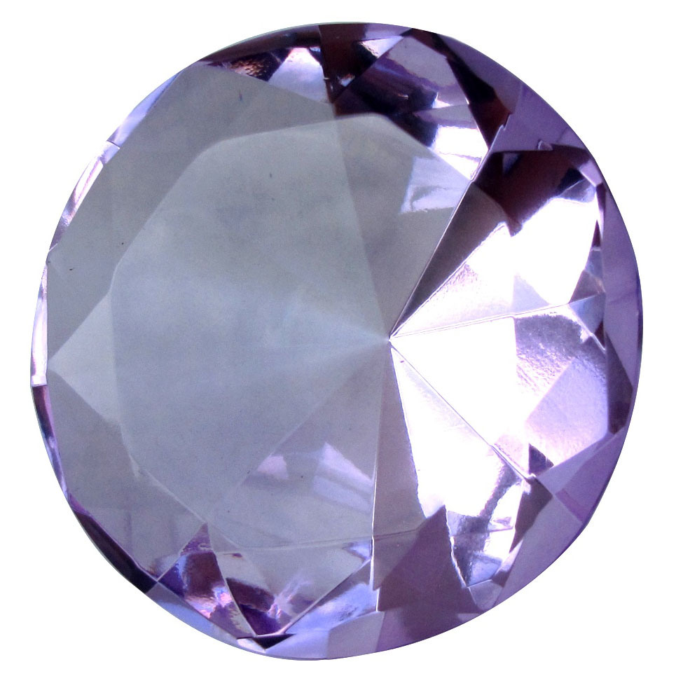 Big 60mm Crystal Purple Lavendar 60 mm Cut Glass Giant Diamond Jewel Paperweight