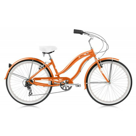 "Micargi Rover LX 24"" 7 Speed Aluminum Women's Beach Cruiser Bike Orange"