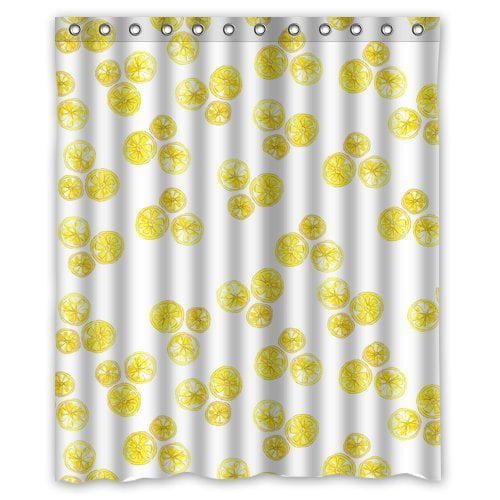 HelloDecor Lemons Shower Curtain Polyester Fabric Bathroom Decorative Curtain Size 60x72 Inches