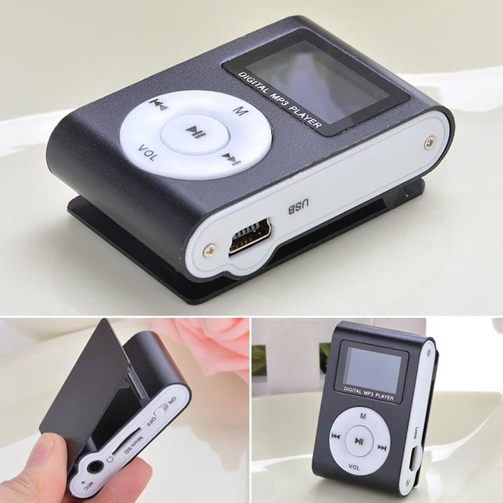 Black Mini MP3 Player Clip USB FM Radio LCD Screen Support for 32