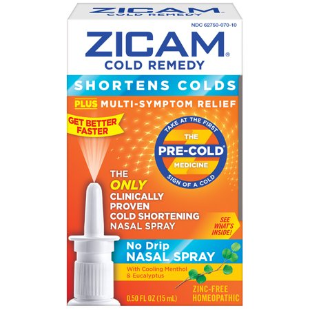 Zicam Fast Acting Common Cold, Flu, and Allergy Relief Remedy All Natural Saline Solution, Multi-Symptom Relief, No Drip Nasal Spray Medicine