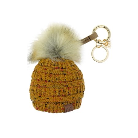 9803768fa NYFASHION101® Pom Pom Beanie Key Chain Key Ring Handbag Tote Accessory -  Confetti Mustard