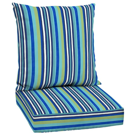 Mainstays Turquoise Stripe 48 x 24 in. Outdoor Deep Seating Cushion Set
