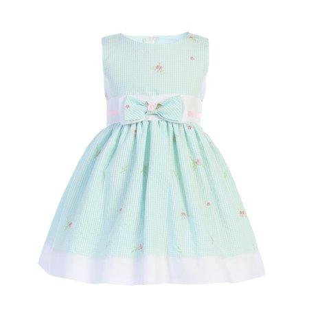 Little Girls Mint Seersucker Bow Accent Cotton Flower Girl Dress