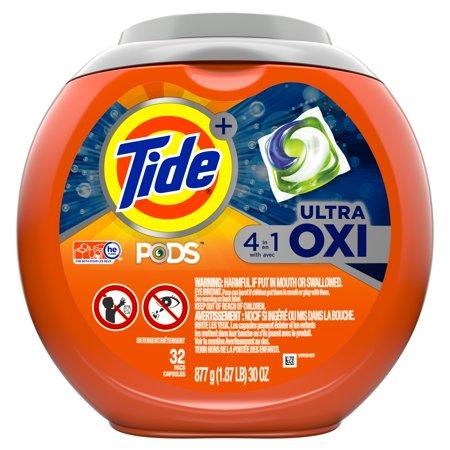 Tide PODS Ultra Oxi Liquid Laundry Detergent Pacs, 32 count