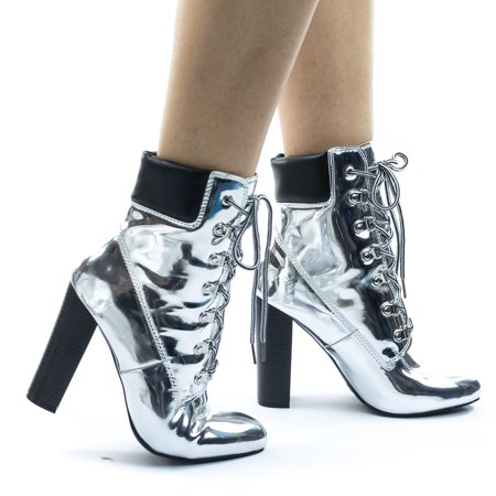 Metallic Block Heel Combat Work Boots w Lace Up Padded Collar