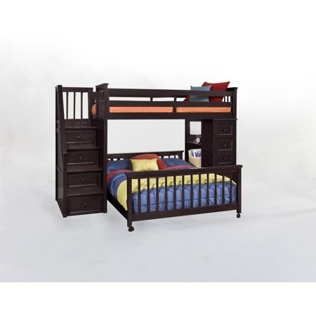 Hillsdale School Twin Stair Loft Chest End Full Lower Bed Chocolate