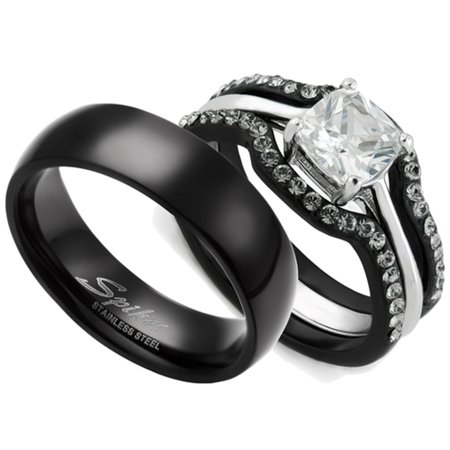 Batman Wedding Ring With Diamond (HIS & HERS 4PC BLACK STAINLESS STEEL WEDDING ENGAGEMENT RING & CLASSIC Band SET Women's Size 10 Men's 06mm Size)