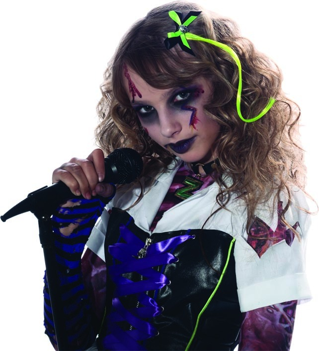 Green Hair Extension & Skull Bow Costume Accessory