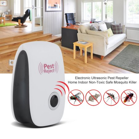 Qiilu 1 Pcs Pest Control Ultrasonic Repeller Ultrasonic Pest Reject Anti Mosquito Insect Killer Mosquito Insect Repeller for Insects & Mice, Spiders , Roaches, Bugs, Flies, Fleas, Ants and Mosquitoes