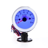 """Tachometer Tach Gauge with Holder Cup for Auto Car 2"""" 52mm 0~8000RPM Blue LED Light"""