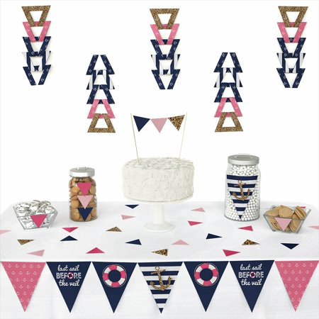 Last Sail Before The Veil - Triangle Nautical Bridal Shower & Bachelorette Party Decoration Kit - 72 Pieces for $<!---->