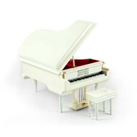 Sophisticated 18 Note Miniature Musical Hi-Gloss White Grand Piano with Bench - 12 Days of Christmas - SWISS ()
