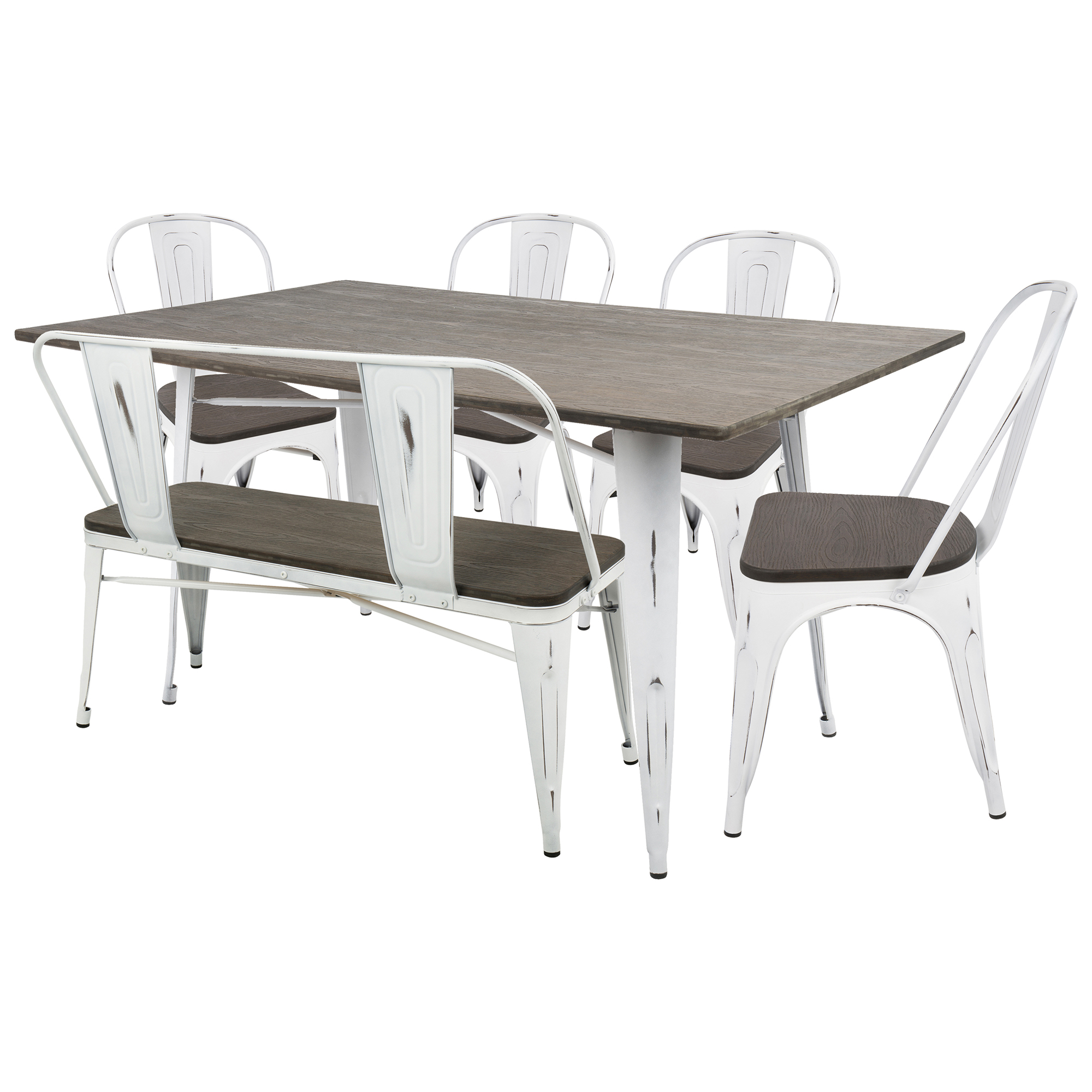 Oregon 6 piece industrial farmhouse dining set in vintage white and espresso by lumisource walmart com