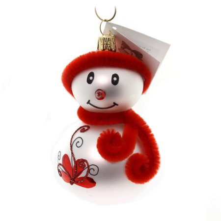 Snowman Ornament Collection - Golden Bell Collection SNOWMAN WITH RED HAT Glass Ornament Frosty Sn703