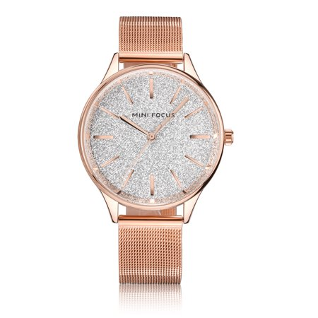 Womens Quartz Watch Rose Gold Case Steel Mesh Belt Time Scale Fashion for Friends Lovers Best Holiday Gift