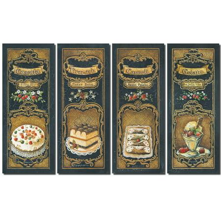 Lovely, French Dessert Panels; Cassata, Cannoli, Gelato and Tiramisu; Four 8X20 Poster