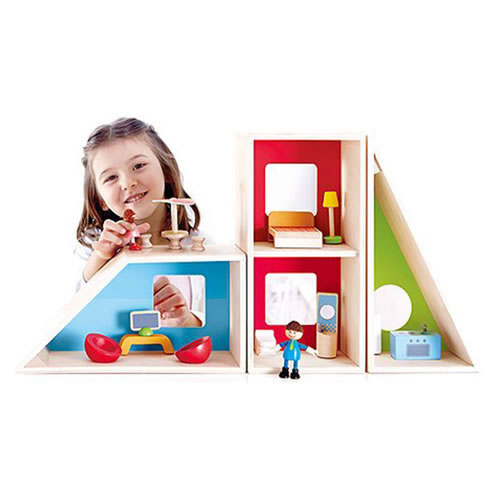 Happy Family Geometrics Wooden Dollhouse