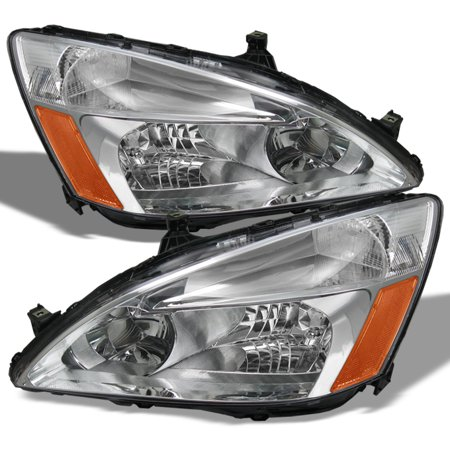 Fits 03-07 Honda Accord Amber Chrome Clear Headlights Headlamps Assembly Pair