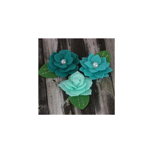 Prima Flowers HER-57997 Hermosa Fabric Flowers 1. 75 inch 3-Pkg-Teal