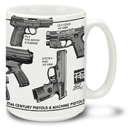 Cuppa 15-Ounce Coffee Mug with 21st Century Pistols