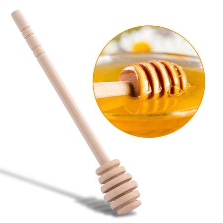 Yosoo 50pcs / set ménage en bois mini confiture miel louche jar distribution collecte bâton d'agitation bâton, louche de miel, bâtons en remuant - image 7 de 8
